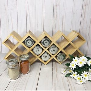 Wooden Farmhouse Kitchen Decor Spice Rack Holder